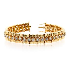 14K Yellow Gold Diamond Tennis Fancy Bracelet 21000674