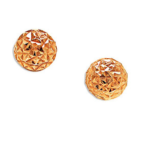 14K Rose Gold Diamond Cut Ball Stud Earrings 40002591
