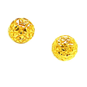 14K Yellow Gold Diamond Cut Ball Stud Earrings