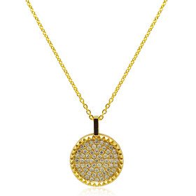 "14K Yellow Gold Pave Diamond Disc 18"" Necklace"