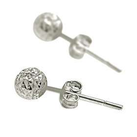 14K White Gold Diamond Cut Ball Stud Earrings 40002595