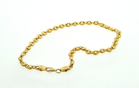14K Yellow Gold Puffed Gucci Link Anklet 20001643