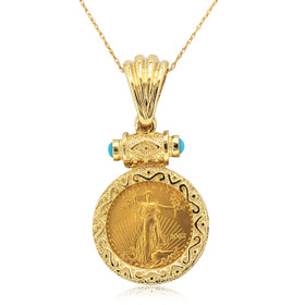 14K Yellow Gold Turquoise Lady Liberty Coin Pendant 52002018