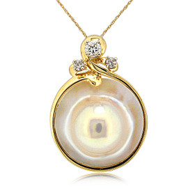 14K Yellow Gold Mother of Pearl Pendant 52002020