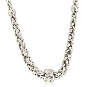 18K White Gold Diamond Wheat Link Necklace 31000905