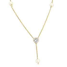 14K Yellow Gold CZ Heart & Pearl Y-Necklace 32000555