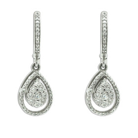14K White Gold Diamond Pave Drop Earring 41002279