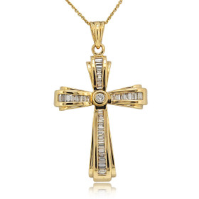 14K Yellow Gold Diamond Cross Pendant 51001902