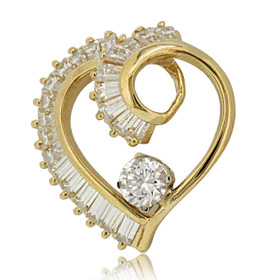 14K Yellow Gold CZ Heart Pendant 52002012