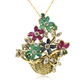 14K Yellow Gold Ruby Sapphire & Emerald Flower Basket Pendant 53110012