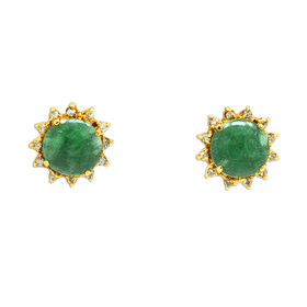 14K Yellow Gold Diamond and Jade Stud Earrings 42001798