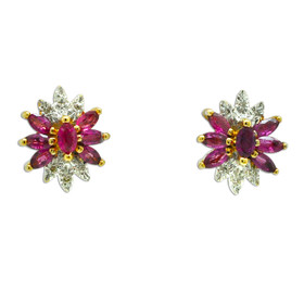 14K Yellow Gold Diamond/Ruby Stud Earrings 42003032