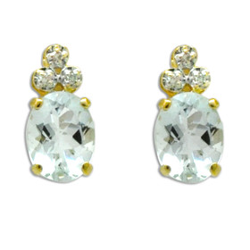 14K Yellow Gold Aquamarine/Diamond Earrings 42003034