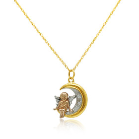 14K Three Tone Gold CZ Angel Moon Charm 52002045