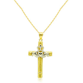 14K Two Toned Gold Claddagh Cross Charm 50003502
