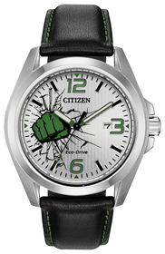 Citizen Men's Eco Drive Marvel Hulk Black Leather Strap AW1431-24W