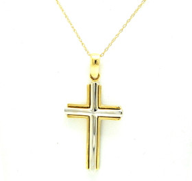 14K Yellow And White Two Tone Gold Cross Charm 50003531