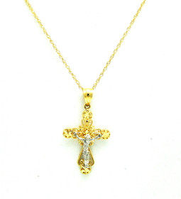 14K Two Tone Gold Crucifix Cross Charm 50003541