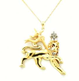 10K Yellow and White Gold Lion of Judah Charm 59000224