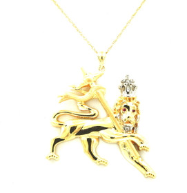 14K Yellow and White Gold Lion of Judah Charm