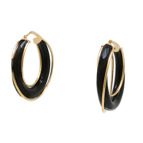 14K Yellow Gold Onyx Fancy Hoop Earrings 42003018