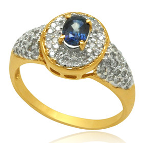 10K Yellow Gold Diamond and Sapphire Ring 19000231
