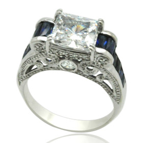 10K White Gold CZ Synthetic Sapphire Antique Ring 19210051