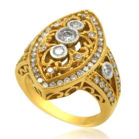 14K Yellow Gold Diamond Antique Ring 11006154