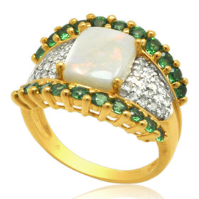 14K Yellow Gold Antique Opal Peridot Diamond Ring 12002778
