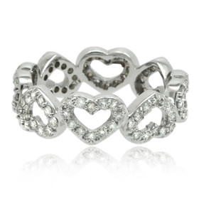 14K White Gold Diamond Heart Band 11006161-R