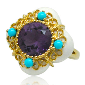 14K Yellow Gold Amethyst Turquoise Agate Ring 12002779
