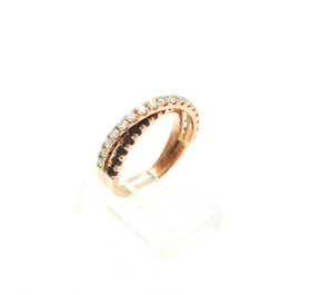 14K Rose Gold Diamond  Tourmaline Criss Cross Ring  12002782