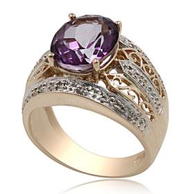 14K Yellow Gold Amethyst Diamond Ring 12002748