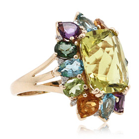 14K Yellow Gold Lemon Quartz Gemstone Ring 12002744