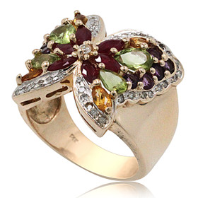 14K Yellow Gold Fancy Butterfly Gemstone Ring 12002751
