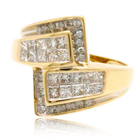 14K Yellow Gold Criss Cross Diamond Bypass Ring 11006133