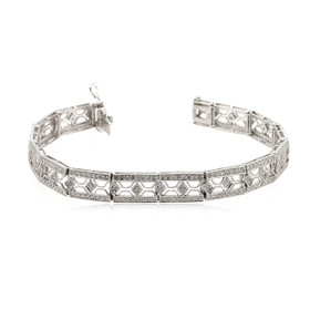 "14K White Gold 7"" Diamond Bracelet 21000671"