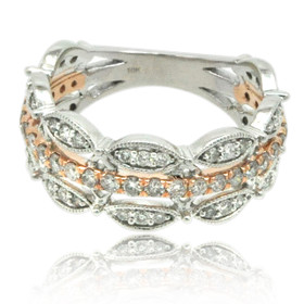 10K White and Rose Gold Fancy Diamond Ring 19000235