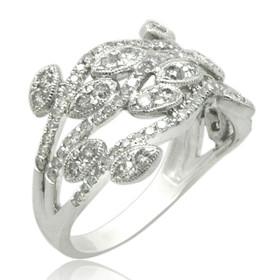 10K White Gold Fancy Diamond Leaf Ring 19000234