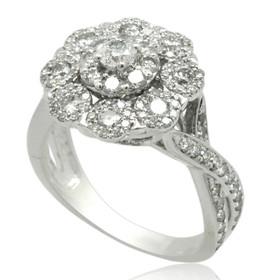 10K White Gold Fancy Diamond Cluster Ring 19000232