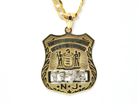 14K Yellow Gold Correction Officer Charm With Diamond Numbers