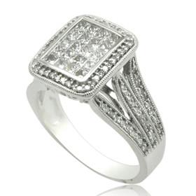 10K White Gold Invisible Set Diamond Ring 19000233