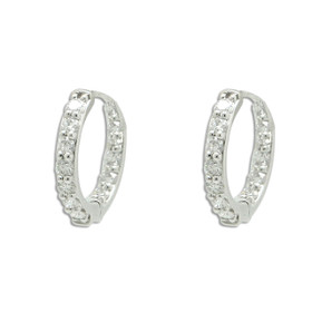 18K White Gold Diamond Huggie Earrings 41002297
