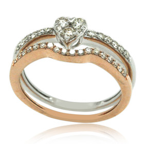 14K Two Tone Gold Diamond Heart Ring Set 11006166