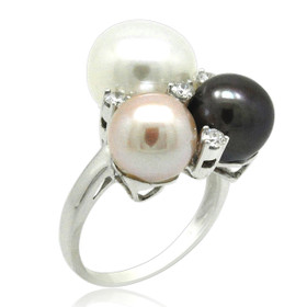 14K White Gold Multicolored Pearl and Diamond Ring 12002437