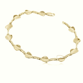 14K  Yellow Gold Diamond Heart Bracelet 21000668