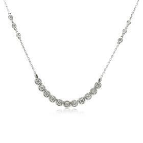 14K White Gold Bezel Set Diamond Necklace -R
