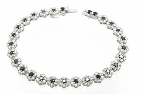 14K White Gold Black and White Diamond Flower Bracelet 22000810