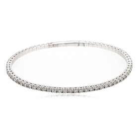 14K White Gold 1.26 Carat Flexible Diamond Bangle 21000701