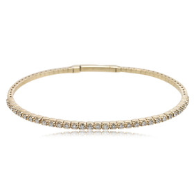 14K Yellow Gold 1.27 Carat Diamond Flexible Bangle 21000702